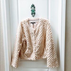 White House Black Market Blush/Cream Fur Jacket